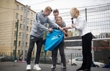 The Zenit U19s taking part in the city's social life