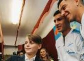 Leandro Paredes and Sebastian Driussi met with students thanks to Gazprom Neft