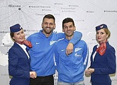 Yuri Lodygin and Denis Terentyev took part in Rossiya Airline's Christmas fair