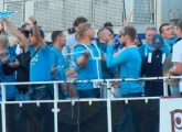 Support from the water! The Zenit supporters at the game with Dinamo Minsk